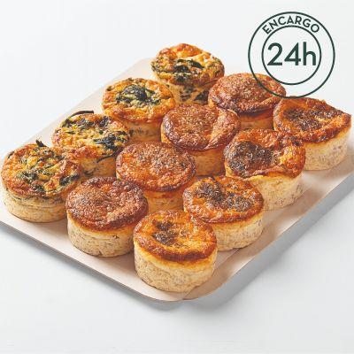 Bandeja de mini quiches variadas (12 uds)